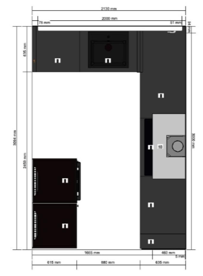 plattegrond van de keuken met afmetingen